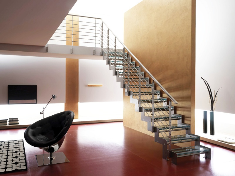 The monolama glass tread by rintal for Diseno de escaleras interiores