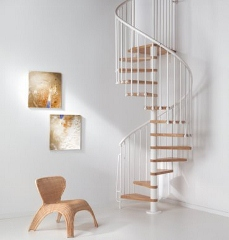 A Small Diameter Spiral Staircase With Real Oak Treads. Available In 1.1m  And 1.3m Diameters.